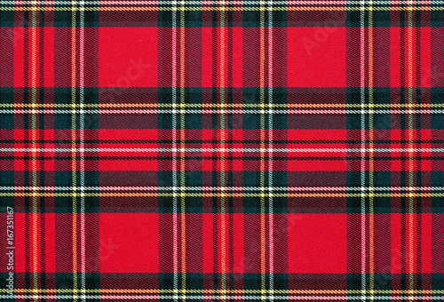 Fotografie, Obraz  Close up of red, checkered textile background, texture with copy space
