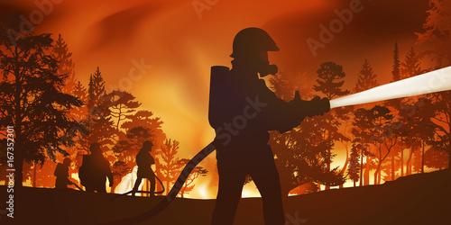 pompiers - incendie - feu de forêt - catastrophe Wallpaper Mural