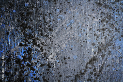 Hand painted splattered black blue and grey wood grain texture
