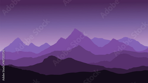 Foto op Canvas Snoeien panoramic view of the mountain landscape with fog in the valley below with the alpenglow purple sky and rising sun - vector