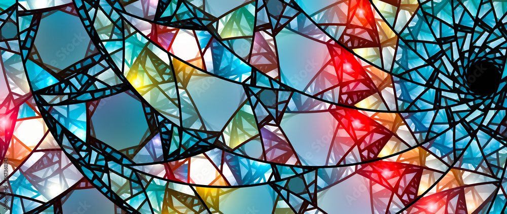 Fototapeta Colorful glowing stained glass