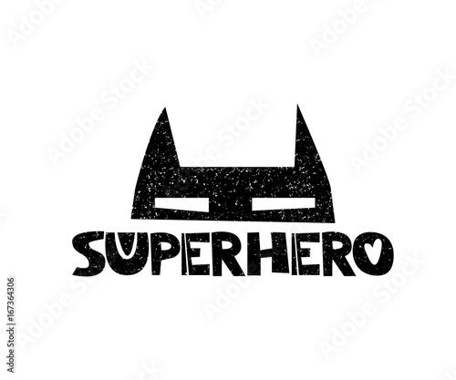 Superbohatera Mały bohater. Ręcznie rysowane styl typografii plakat z inspirujący cytat. Kartka z życzeniami, sztuka do druku lub dekoracja domu w stylu skandynawskim. Skandynawski design. Wektor