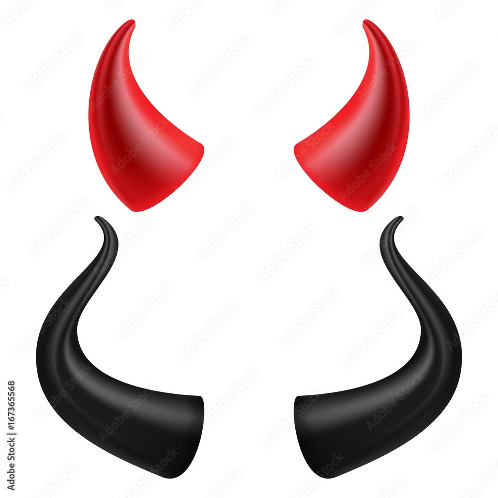 Fototapeta Devils Horns Vector. Realistic Red And Black Devil Horns Set. Isolated On White Illustration.