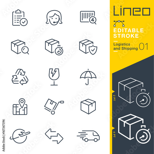 Photo Lineo Editable Stroke - Logistics and Shipping line icons