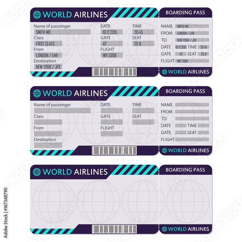 Airline Or Plane Ticket Boarding Pass Blank And Airplane Template Vector Illustration