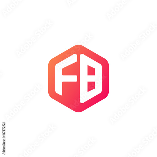 Initial Letter Fb Rounded Hexagon Logo Gradient Red Orange Colors