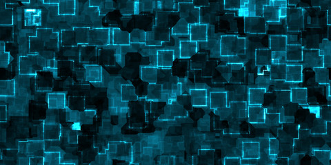 Blue seamless Cyber Glow Neon Squares Pattern Background Texture.