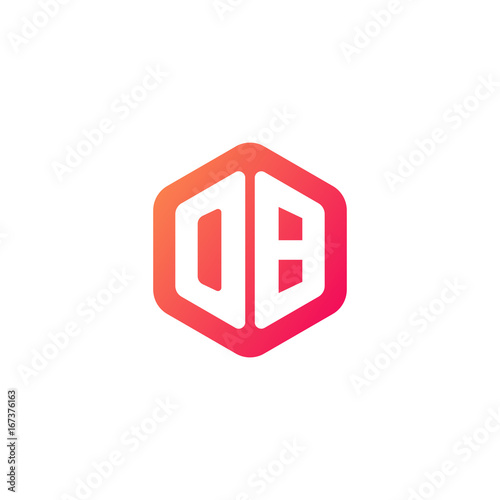 Fotomural  Initial letter ob, rounded hexagon logo, gradient red orange colors