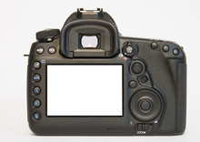 Modern DSLR Digital Camera From Back Isolated On White Background