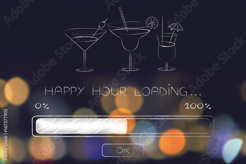 happy hour loading with progress bar Wallpaper Mural