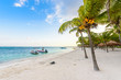 Beautiful white sand beach in Akumal, Mexico - paradise bay Beach in Quintana Roo - caribbean coast - late afternoon and sunset at Riviera Maya