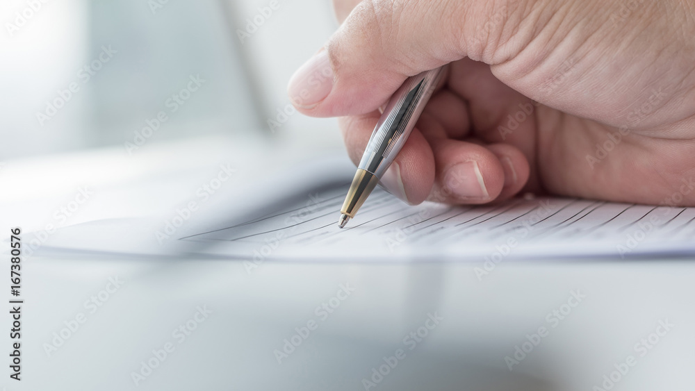 Fototapeta Applicant filling in business company application form document applying for job, or registering claim for health insurance