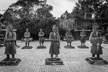 Soldiers In Khai Dinh Tomb At Hue Vietnam. Black And White