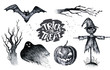 Leinwanddruck Bild - Halloween hand drawing black white graphic set icon, drawn Hallo
