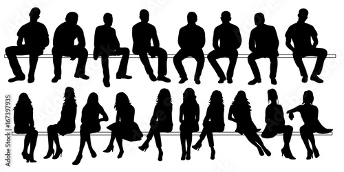 Obraz Vector, isolated set of silhouettes of seated people collection of silhouettes - fototapety do salonu