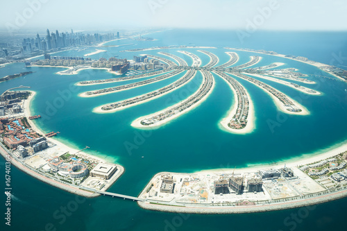 Aerial View Of Palm Island In Dubai Canvas Print