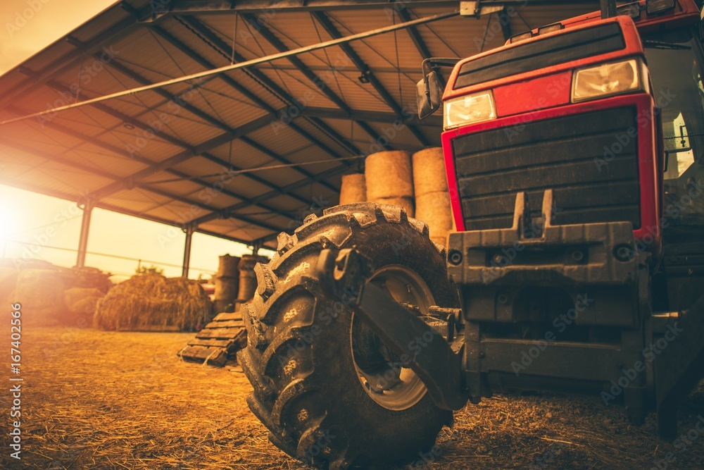 Fototapety, obrazy: Hay Storage and the Tractor