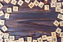 Wooden Letter Cubes On Dark Background. Wooden Cube Background
