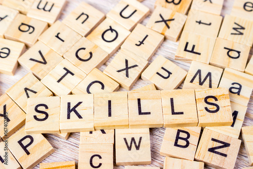 Skills Word Written In Wooden Cube Wooden Cube Background Buy