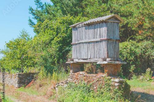 Wooden horreo in Sarria Camino de Santiago Galicia Spain