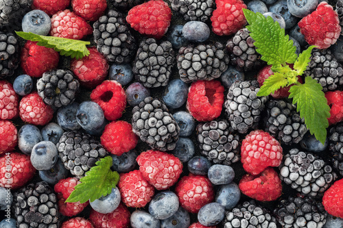 Assorted frozen berries of raspberries, blueberries and blackberries