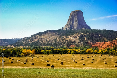 Obraz na plátně Devils Tower in the Fall with hay fields
