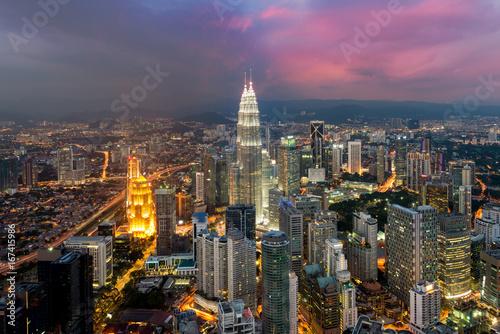 Poster Kuala Lumpur Kuala lumpur skyline in night, Malaysia, Kuala lumpur is capital city of Malaysia