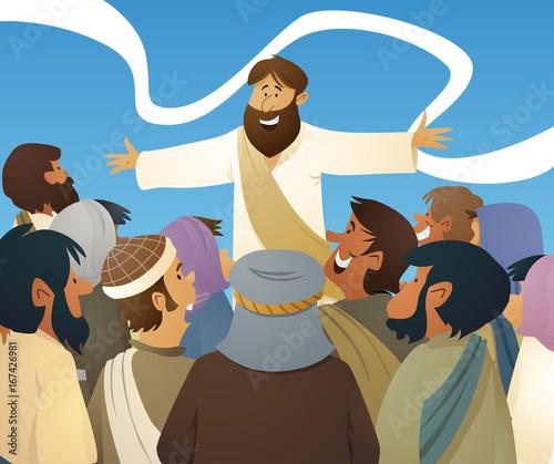Obraz na plátně Jesus and Crowd