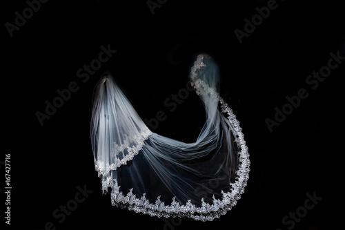 Fotografía wedding white Bridal veil on black background isolated