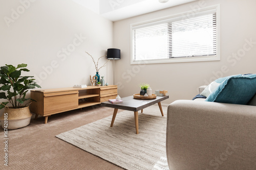 Valokuva  Scandi styled living room with low buffet and indoor plant