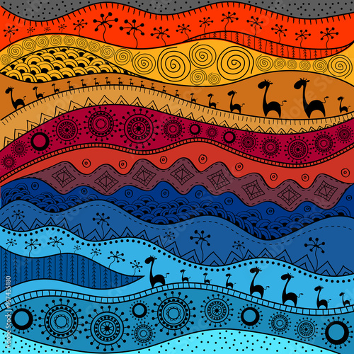 Fototapeta African hand-drawn ethno pattern, tribal background