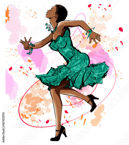 Tuinposter Art Studio Beautiful black woman dancing
