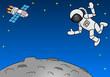 Astronaut schwebt über einem kargen Planeten