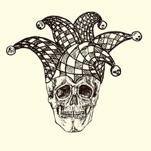 Skull In Checkered Jester Hat,...