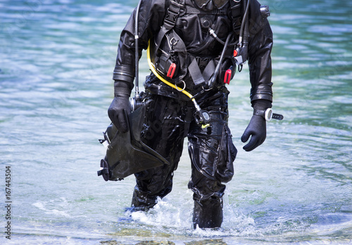 Diver getting out of water