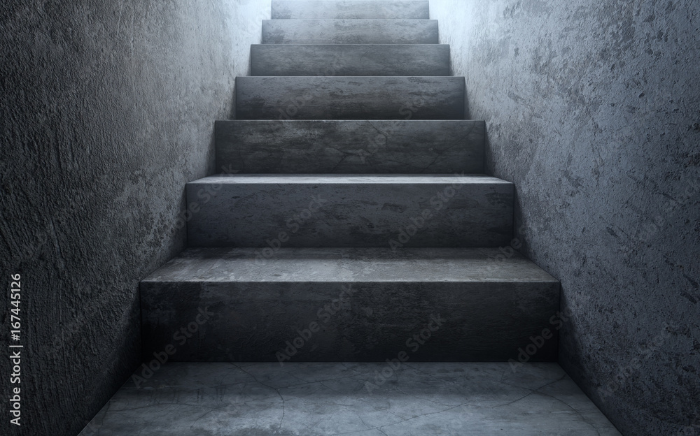 Fototapety, obrazy: Old dirty concrete stairs to light.The way to success. 3d rendering