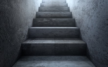 Old Dirty Concrete Stairs To Light.The Way To Success. 3d Rendering