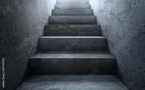 Obraz Old dirty concrete stairs to light.The way to success. 3d rendering - fototapety do salonu