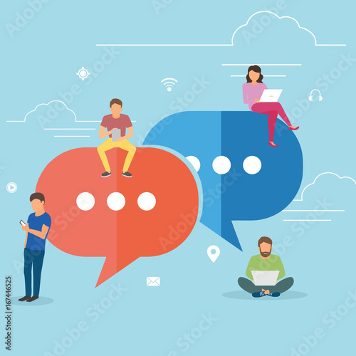 Obraz Speech bubbles for comment anf reply concept flat vector illustration of young people using mobile smartphone for texting and leaving comments in social networks. Guys and women sitting on big symbols - fototapety do salonu