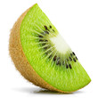 canvas print picture - Ripe slice of kiwi fruit stand isolated on white background