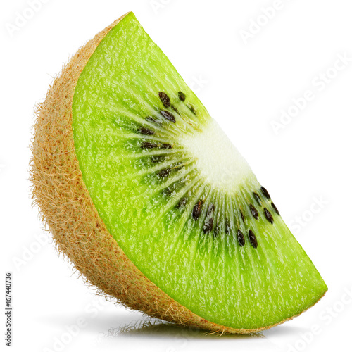 Obraz na plátně Ripe slice of kiwi fruit stand isolated on white background