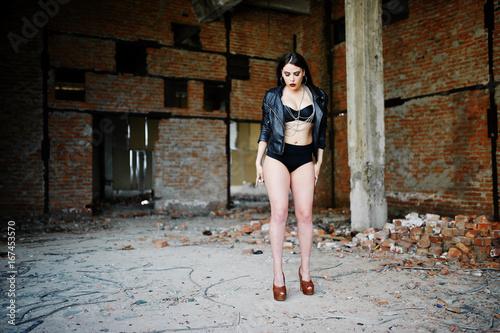 4995bafb72a37e Brunette plus size sexy woman, wear at black leather jacket, lace panties,  bra