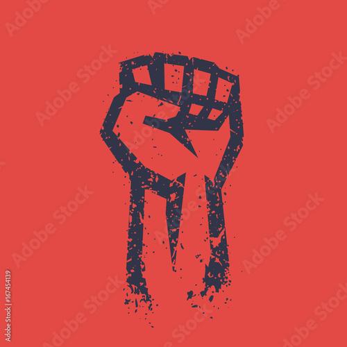 Fotografia Fist held high in protest, grunge outline, raised hand, revolt symbol