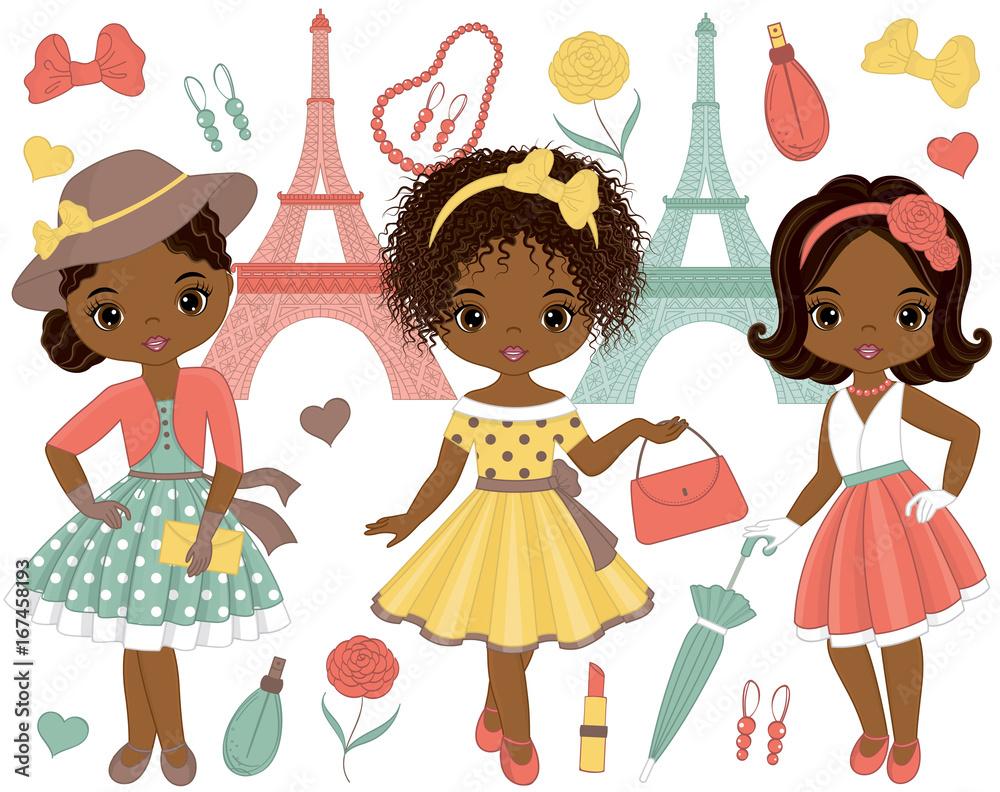 Wektor zestaw z słodkie dziewczynki Afroamerykanów w stylu retro i Wieża Eiffla