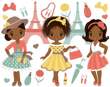 Vector Set With Cute Little African American Girls In Retro Style And Eiffel Tower