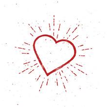 Outline Vintage Heart Illustra...