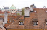 Red roofs in Prague, panoramic view of Prague with traditional Czech architecture - 167459324