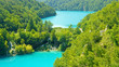 Top view of Plitvice Lakes and waterfalls in Croatia, National Park