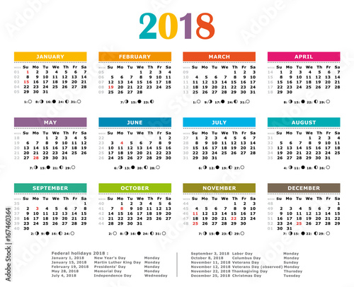 2018 multicolored yearly calendar federal holidays moon and numbers of weeks