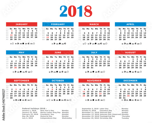 2018 yearly calendar american colors federal holidays moon and numbers of weeks